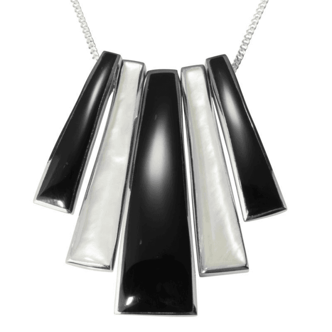"Shipton and Co Ladies Shipton and Co  Silver Onyx and Mother of Pearl Graduated Bars Pendant including a 16"" Silver Chain  TKW170ONPM"