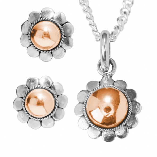 Flower Earrings Domed with Rose Gold