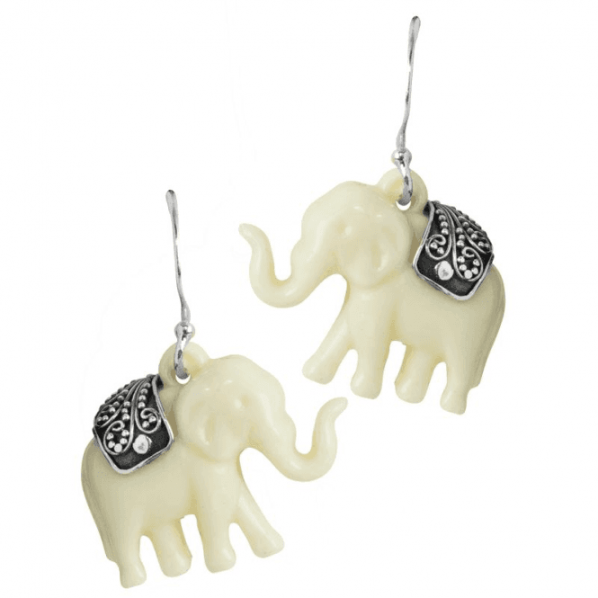 Ladies Shipton and Co Silver and Handcarved Bone Elephant Drop Earrings TFE074BN