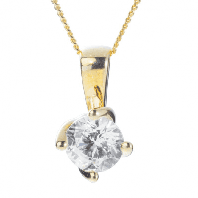 Ladies Shipton and Co 9ct Yellow Gold and 6mm Round Cubic Zirconia Curved Claw Pendant including a 16 9ct Chain TEM023CZ