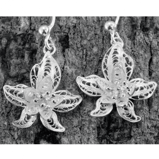 Ladies Shipton and Co Orchid Filigree Drop Earrings Silver TFE075NS