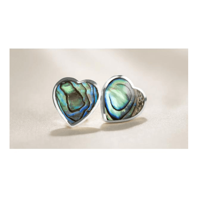 Paua Shell Heart Studs