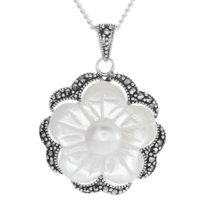 Beautifully Detailed Pearl Flower Pendant