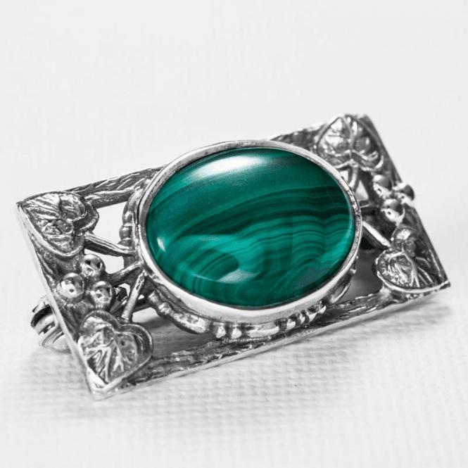 Ladies Shipton and Co Silver and Malachite Brooch OQ0150ML