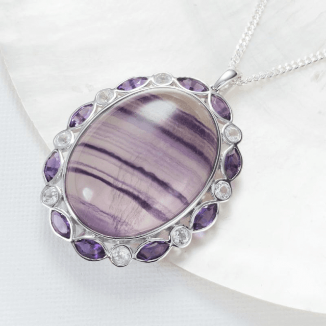 Shipton and Co Ladies Shipton and Co Exclusive Silver and Flourite Pendant including a 16 Silver Chain PQA445FLMU