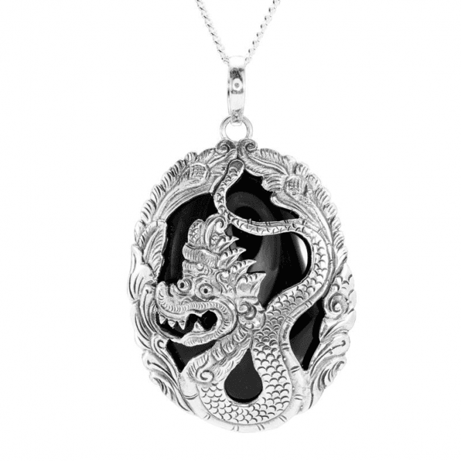 Ladies Shipton and Co Silver and Onyx Pendant including a 16 Silver Chain TSS192ON