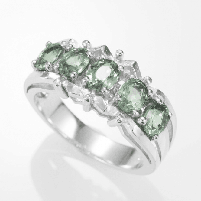 Ladies Shipton and Co Silver and Green Sapphire Ring RQA425GS