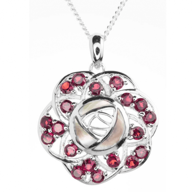 Ladies Shipton and Co Exclusive Silver and Garnet Pendant including a 16 Silver Chain PQA427GRPM