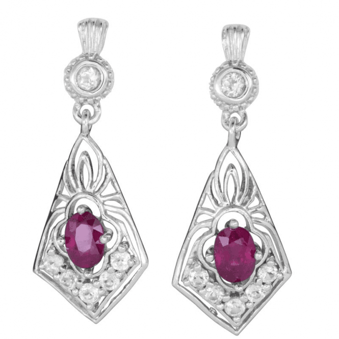2ct Ruby Earrings Lit by White Topaz