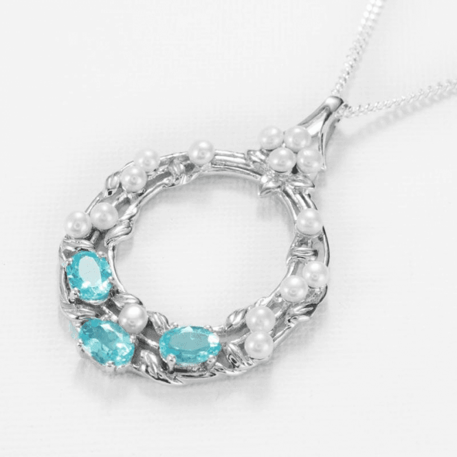 Ladies Shipton and Co Exclusive Silver and Apatite Pendant including a 16 Silver Chain PQA438APFP