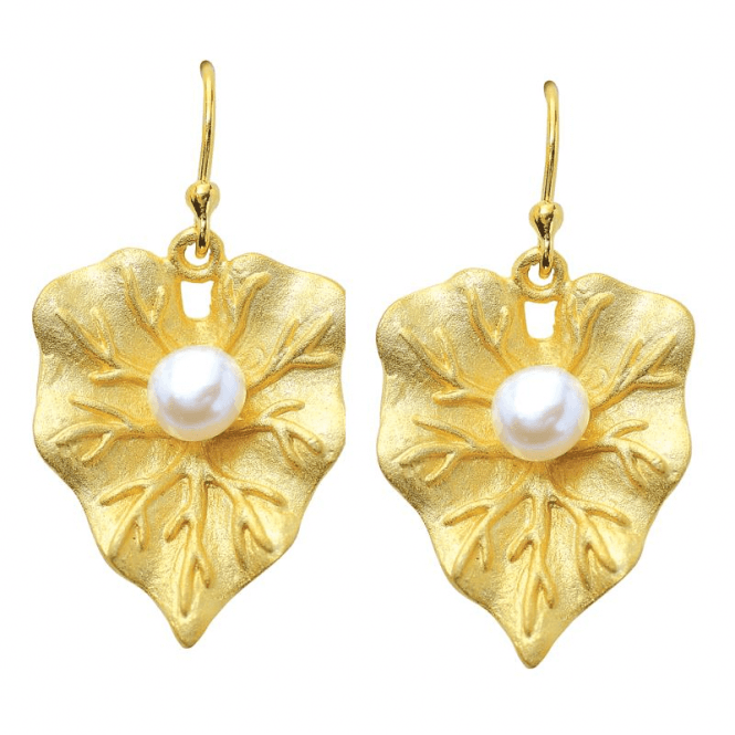 18ct Gold Plated Sterling Silver Leaves Set with Freshwater Pearls