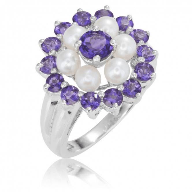 Silver Amethyst & F/W Pearl Cluster Ring