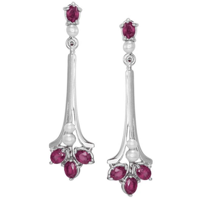 Art Deco Reflections of Rubies & Pearls Earrings