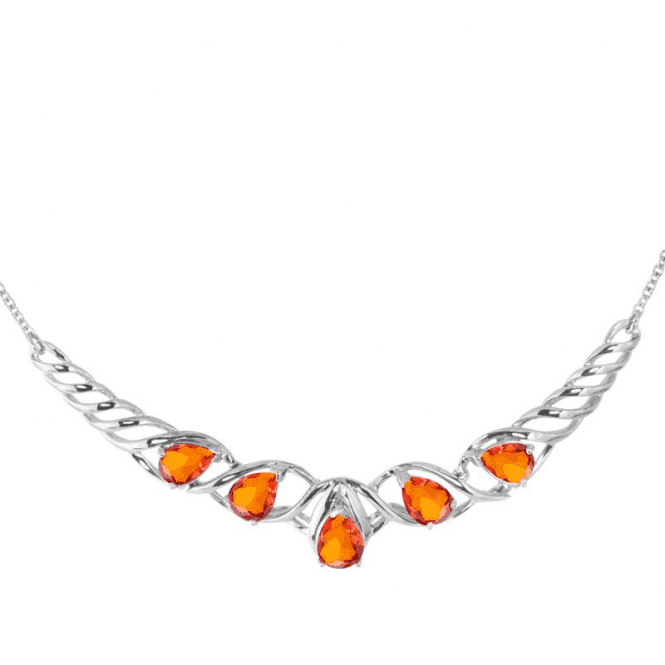 Ladies Shipton and Co Exclusive Silver and Fire Opal Necklace NQA467FO
