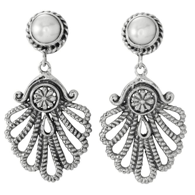 Beaded Acanthus Earrings of Classic Splendour