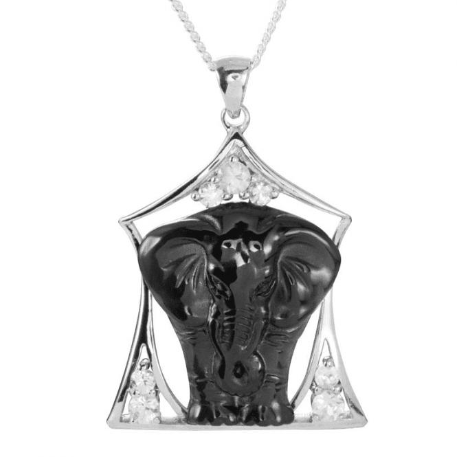 Elephant Pendant in Hand-Carved Black Obsidian