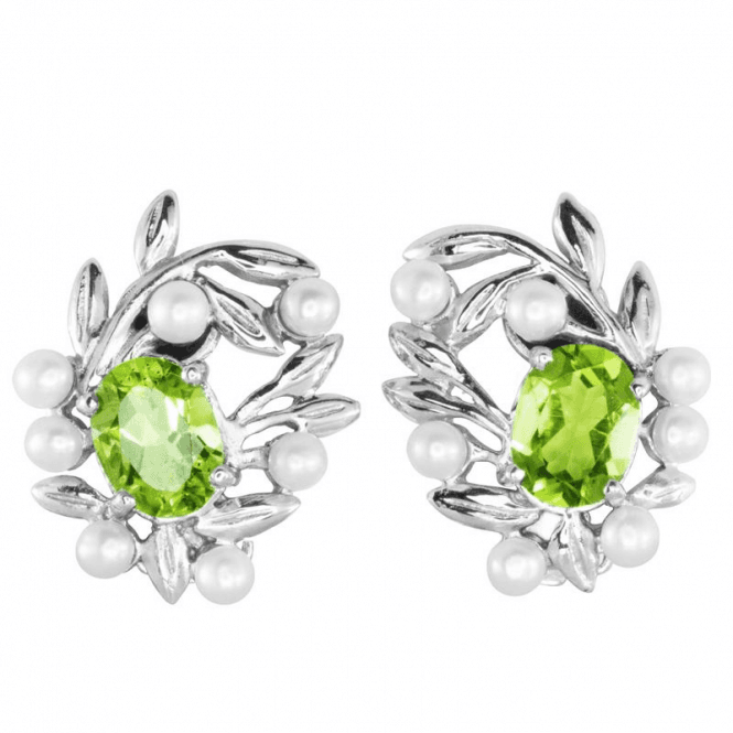 2.30ct Peridot & Pearls in Foliate Silver - Clip Earrings