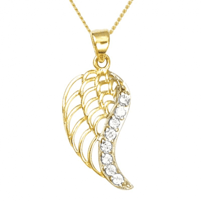 Sparkling Wing Pendant in 9ct Gold