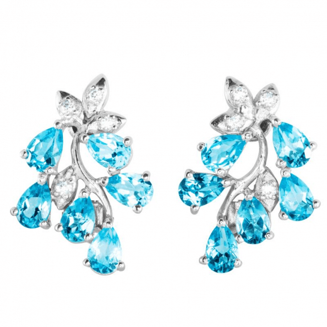 Beguiling Sky Blue Topaz - Clip Earrings