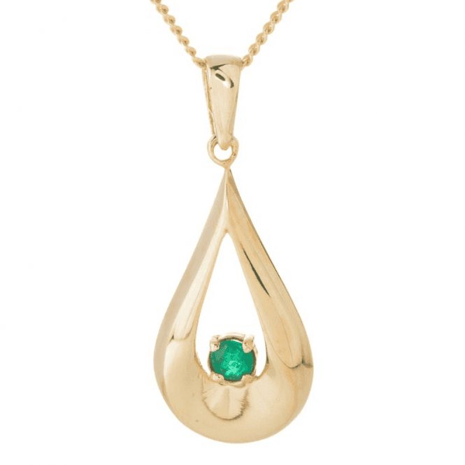 Ladies Shipton and Co 9ct Yellow Gold and Emerald Pendant including a 16 9ct Chain TEM045EM