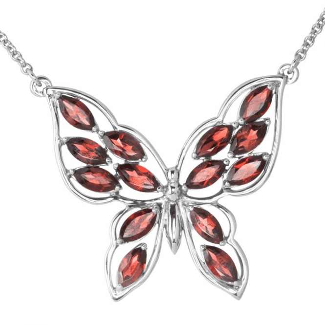 Shipton and Co Ladies Shipton and Co Exclusive Silver and Garnet Necklace NQA486GR