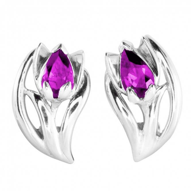 Rich Rhodalite Garnet - Clip Earrings