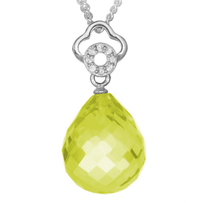 Intensely Faceted Lemon Quartz Briolette with Double Bale