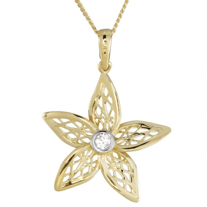 9ct Gold Filigree Lit by a Diamond-like Dew