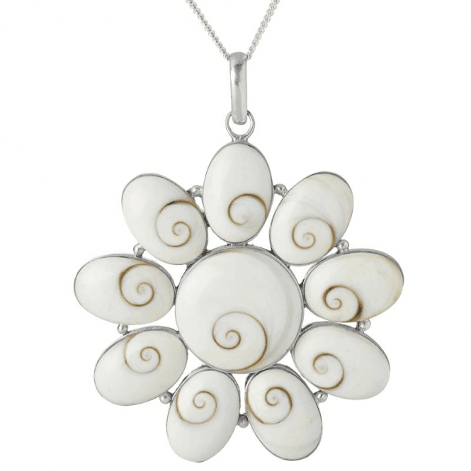 Ladies Shipton and Co Silver and Mother of Pearl Shiwa Shell Cluster Pendant including a 16 Silver Chain TSS119PM