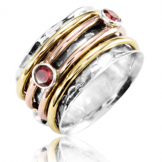 Poet's Spinner Ring set with Garnets