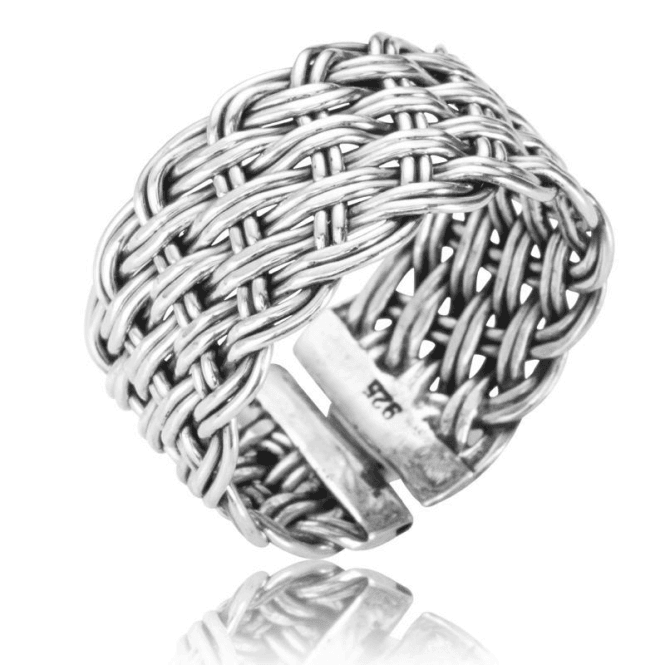 Trellis Ring of Hand-Woven Silver Only £37.50