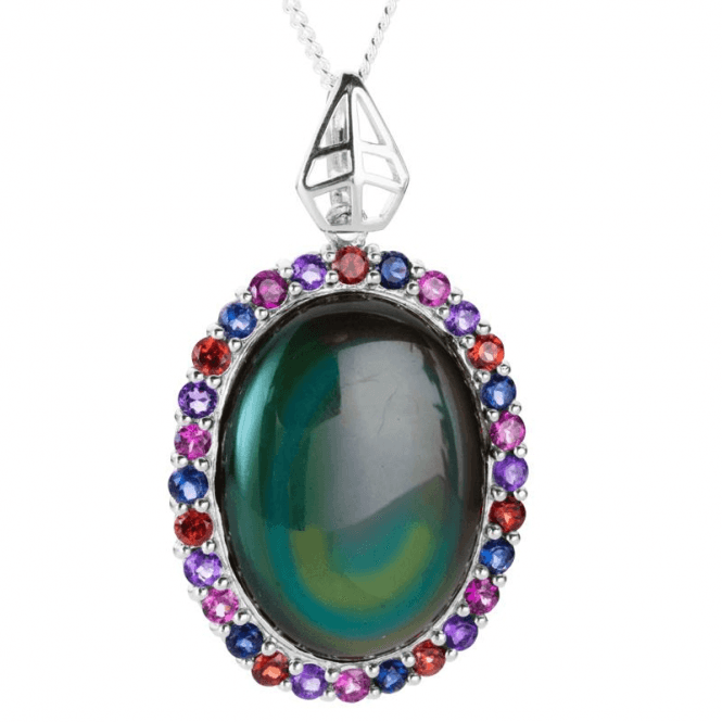 Shipton and Co Ladies Shipton and Co Exclusive Silver and Rainbow Obsidian Pendant including a 16 Silver Chain PQA514OBMU