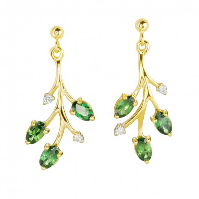 Tsavorite & Diamonds in a Leafy Cascade of Light Earrings