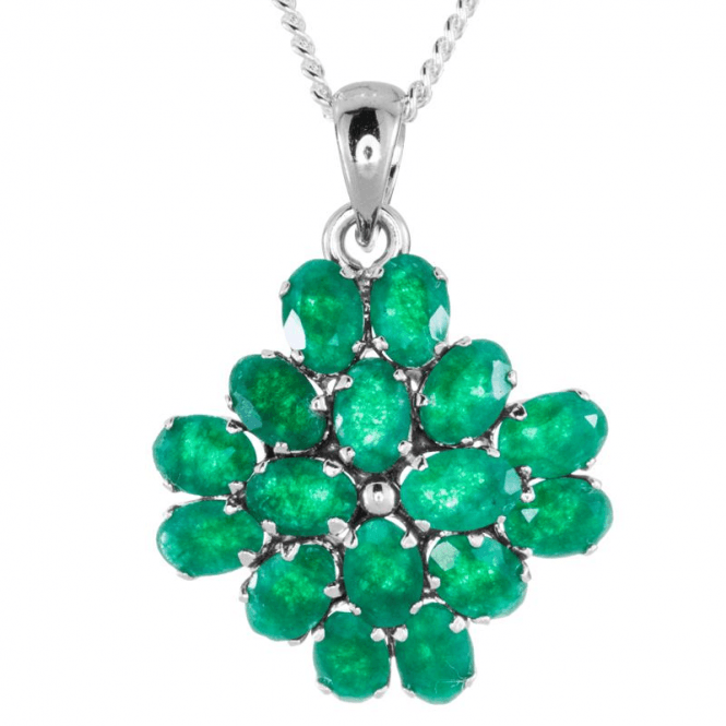Ladies Shipton and Co Silver and Emerald Pendant including a 16 Silver Chain TFE111EM
