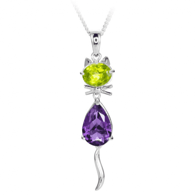 Glinting Peridot & Amethyst Cat with an Expressive Tail