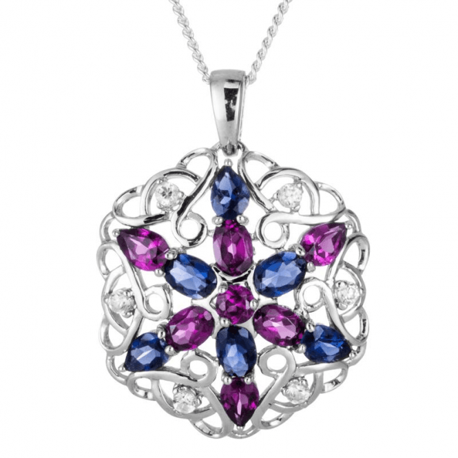 Ladies Shipton and Co Exclusive Silver and Rhodolite Garnet Pendant including a 16 Silver Chain PQA513RHIO
