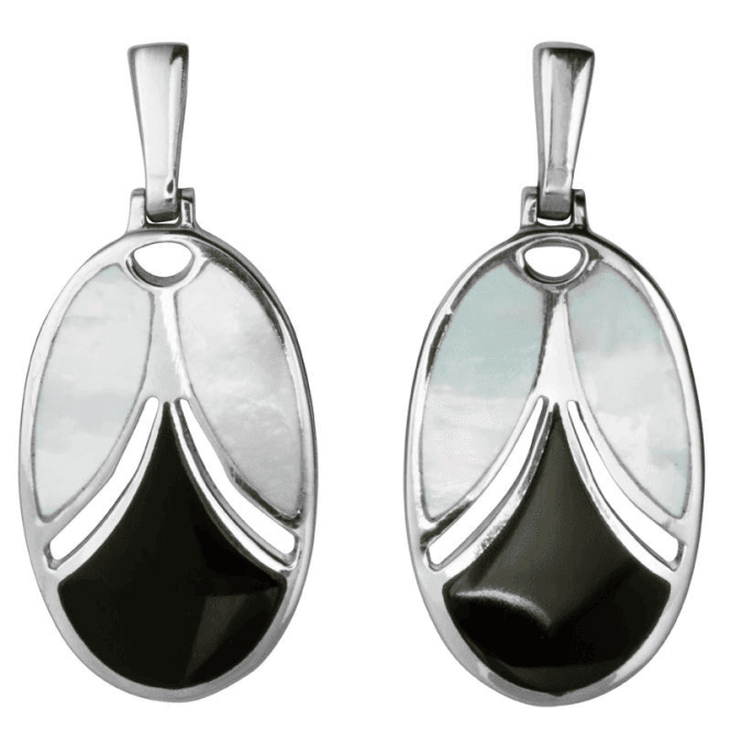 Art Deco Fashion Contrasts of Onyx & Mother of Pearl Earrings