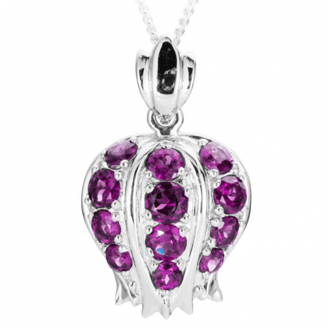 Ladies Shipton and Co Exclusive Silver and Rhodolite Garnet Pomegranate Pendant including a 16 Silver Chain PQA530RH