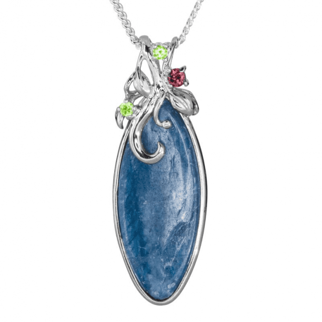 Ladies Shipton and Co Silver and Kyanite Peridot and Garnet Pendant including a 16 Silver Chain TTL263KYMU