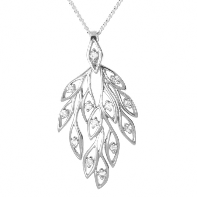 Peacock Pendant Inspired Design Sparkling with Natural Zircons