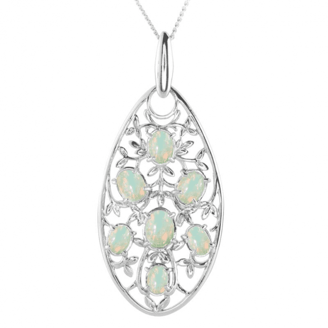 Shimmering Opal Buds Amidst Silver Leaves
