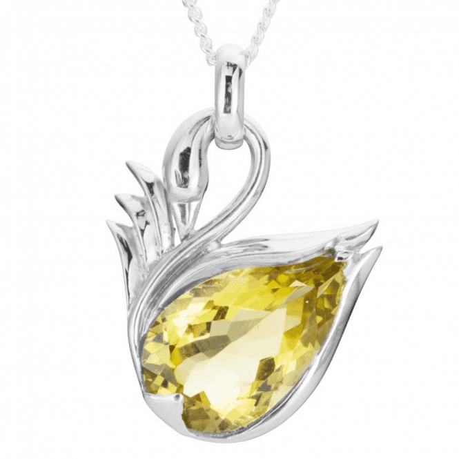 Ladies Shipton and Co Exclusive Silver and Green & 10ct Yellow Quartz Swan Pendant including a 16 Silver Chain PQA507GQ