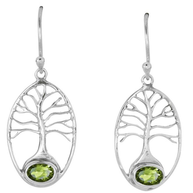 Silver Tree of Life Grounded in Peridot - Earrings