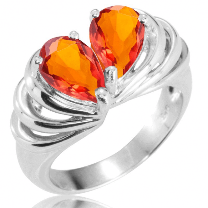 (D) Silver 2x 9x6 P/S Aby Fire Opals Ring