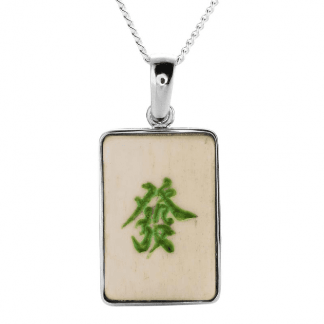 Ladies Shipton and Co Silver and Bone Mahjong Tile Pendant including a 16 Silver Chain TTL266BN