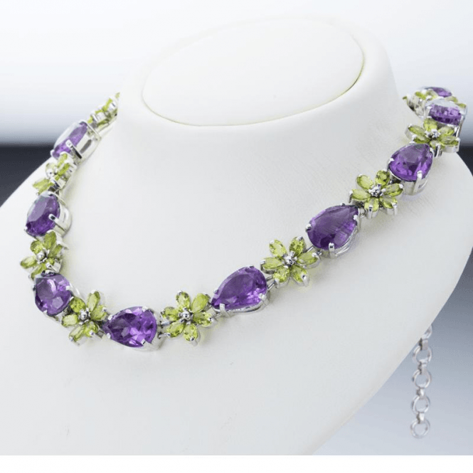 Shipton and Co Ladies Shipton and Co Silver and Amethyst Pear Drop and Peridot Flower Necklace TFE142AMPE