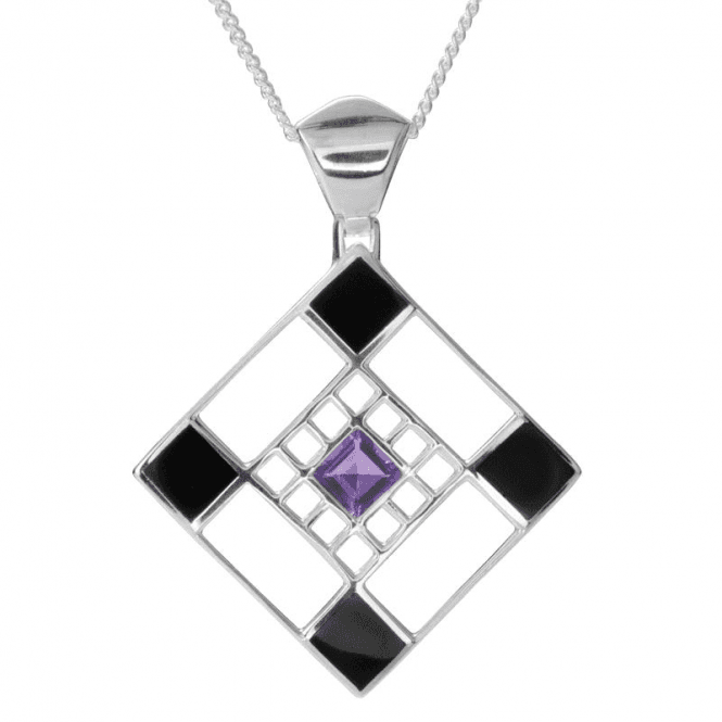 Ladies Shipton and Co Silver Onyx and Amethyst Square Pendant including a 16 Silver Chain TKW528ONAM