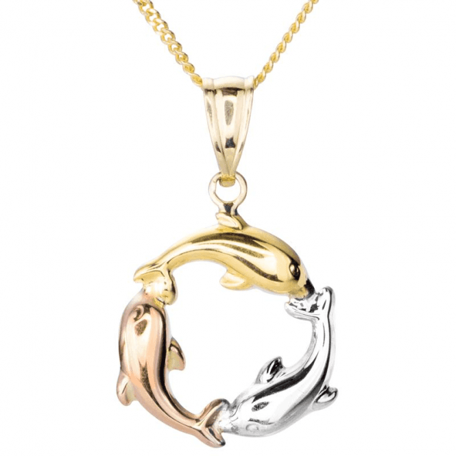 Ladies Shipton and Co 9ct Yellow Gold Dolphin Pendant including a 16 Silver Chain TAR614NS