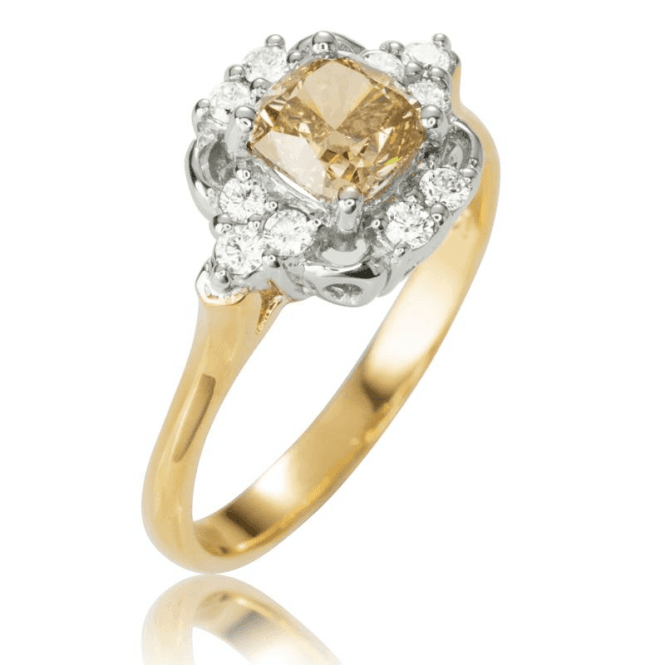 Shipton and Co Ladies Shipton and Co Exclusive 18ct Yellow Gold and 1.25ct Champagne Diamond Ring S08777DI