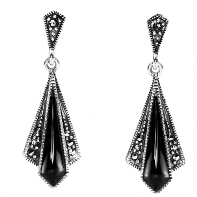 Shipton and Co Ladies Shipton and Co Silver Black Onyx and Marcasite Fan Earrings TFE156ONMM